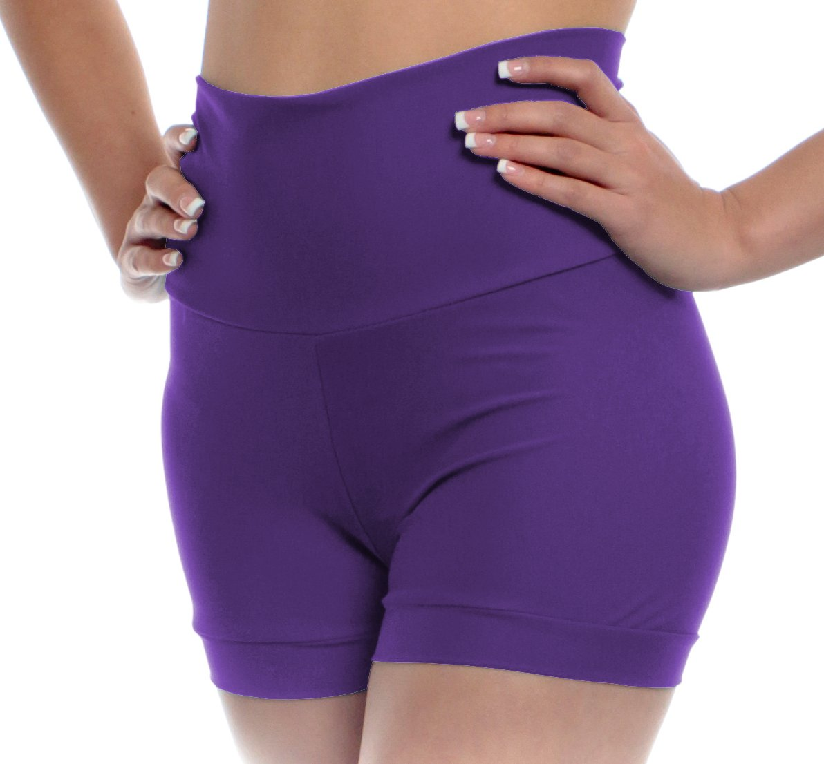 Girls High Waisted Dance Shorts Small Purple Child and Kid Sizes With Fold Over Band and Stretch By B Dancewear by B Dancewear