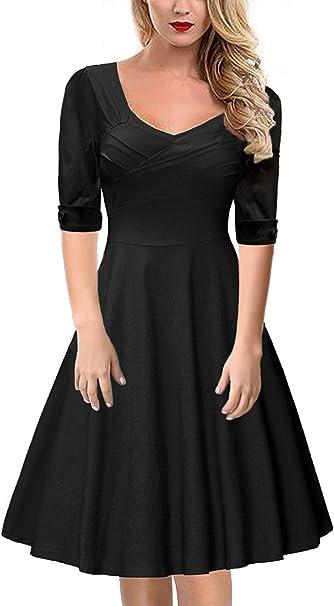 Gigileer Elegant 50s Rockabilly Damen Kleider Cocktailkleid Winter Knielanges Kurzarm Festlich Hochzeit Schwarz M Amazon De Bekleidung