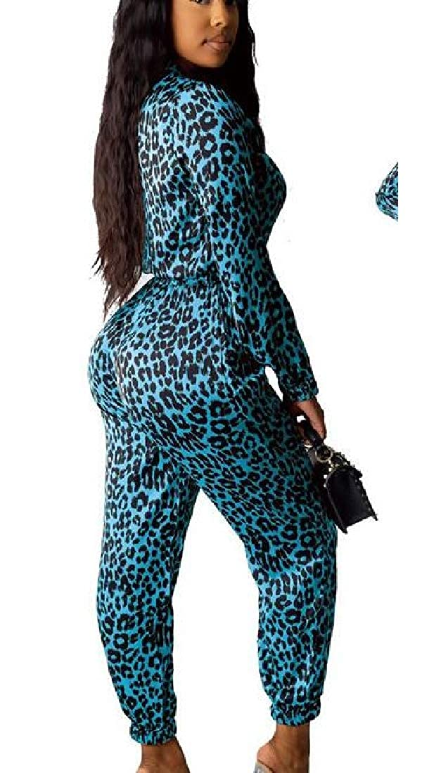 SELX Women Zip-Up Leopard Print Stylish Party Long Sleeve Romper Jumpsuits