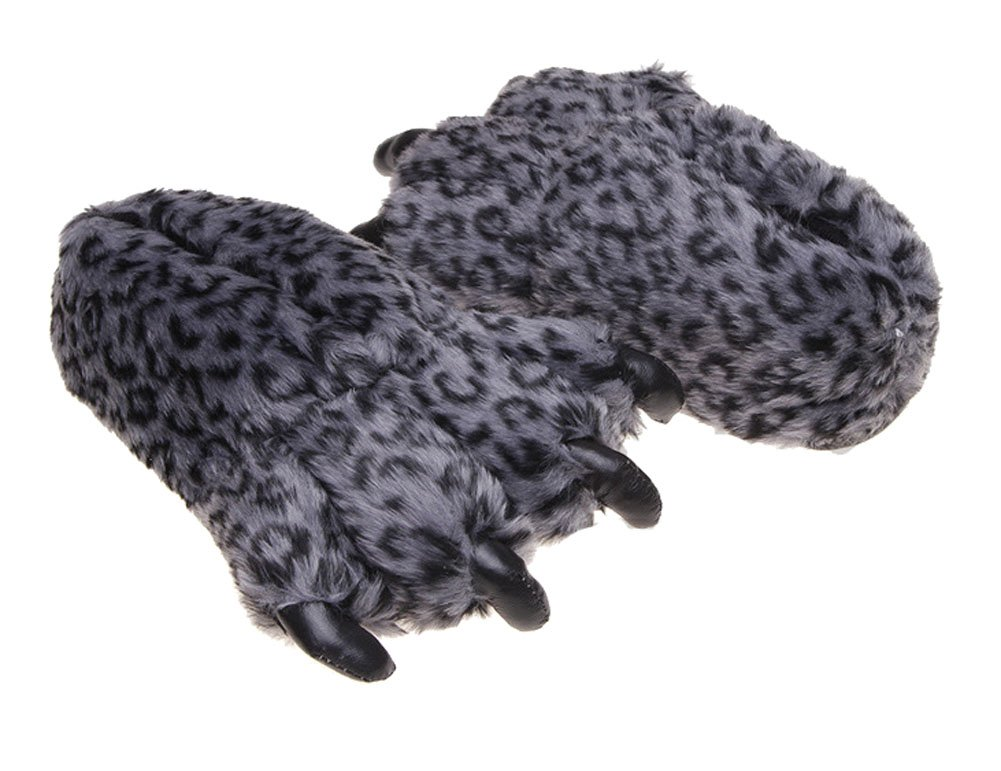 Tonwhar Grizzly Bear Paw Wool Leopard Series Slippers (dark grey) by Tonwhar (Image #2)