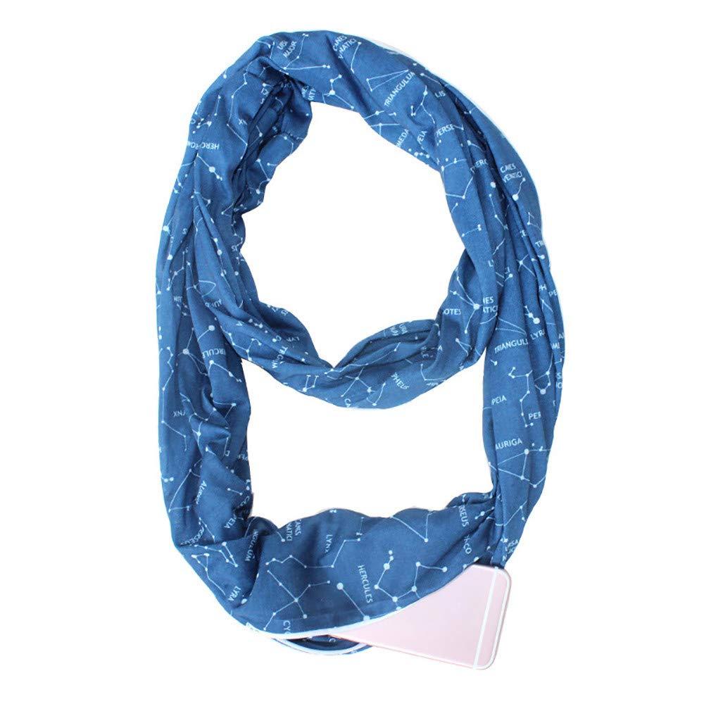Easytoy Infinity Scarfs for Women, Lightweight Arrow Scarf with Zipper Pocket Scarves (Blue, Size:175X55cm)