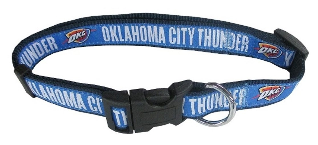 Oklahoma City Thunder Nylon Collar for Pets and Matching Leash (NBA Official by Pets First) Size Medium