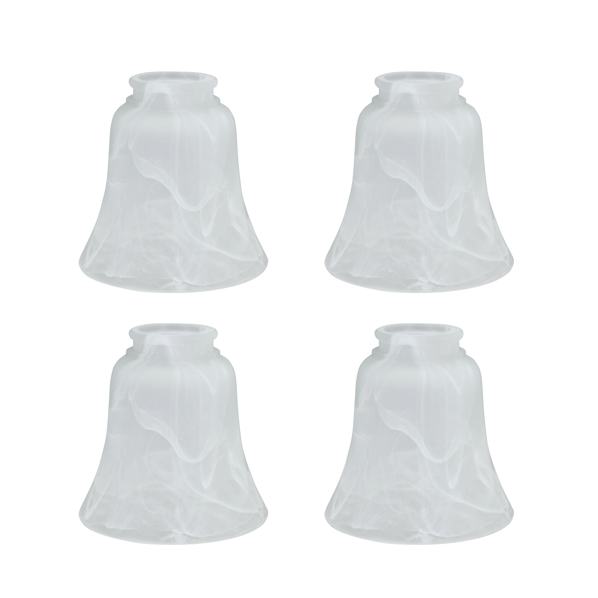 Aspen Creative 23030-4 Transitional Style Replacement Bell Shaped Glass Shade with 2 1/8'' Fitter Size (4 Pack), high x 4 3/4'' Diameter, Alabaster