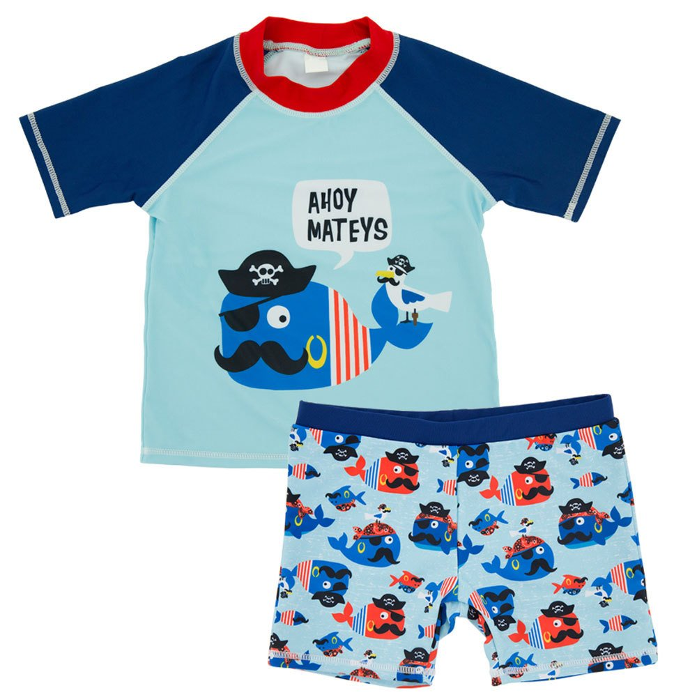 CHARMCZ Baby Boys Swimsuit Two Piece Swimwear Short Sleeve Rash Guard Toddler UV Sun Protection Swim Set