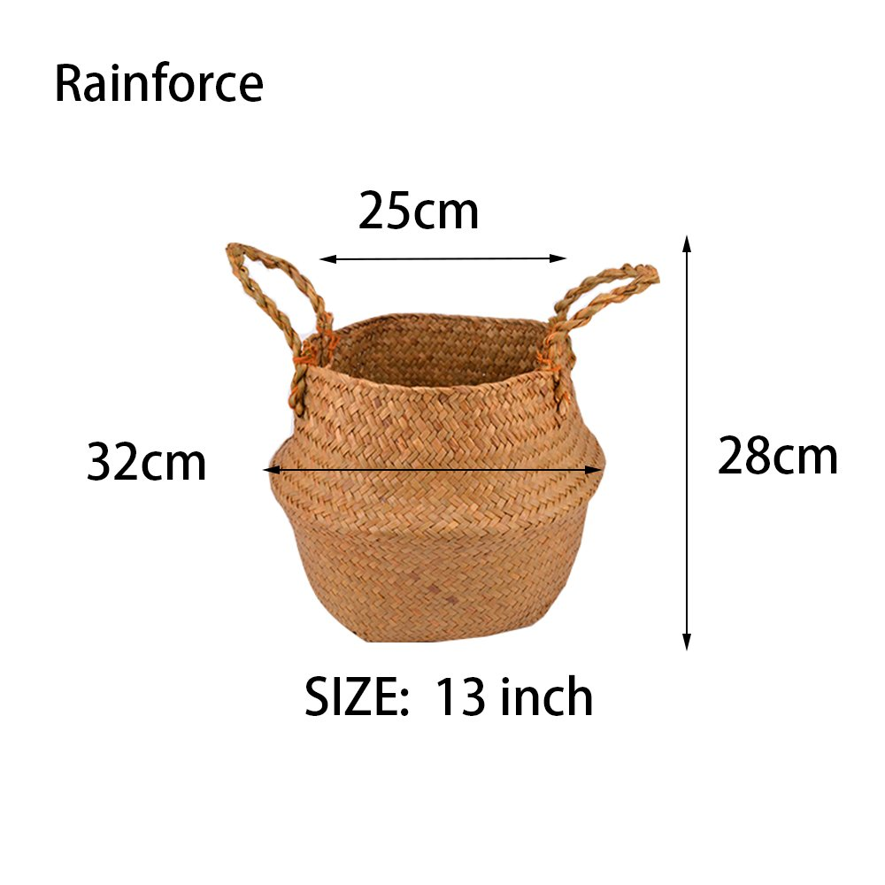 Natural Seagrass Belly Basket Panier Storage Plant Pot Collapsible Nursery Laundry Tote Bag with Handles (9