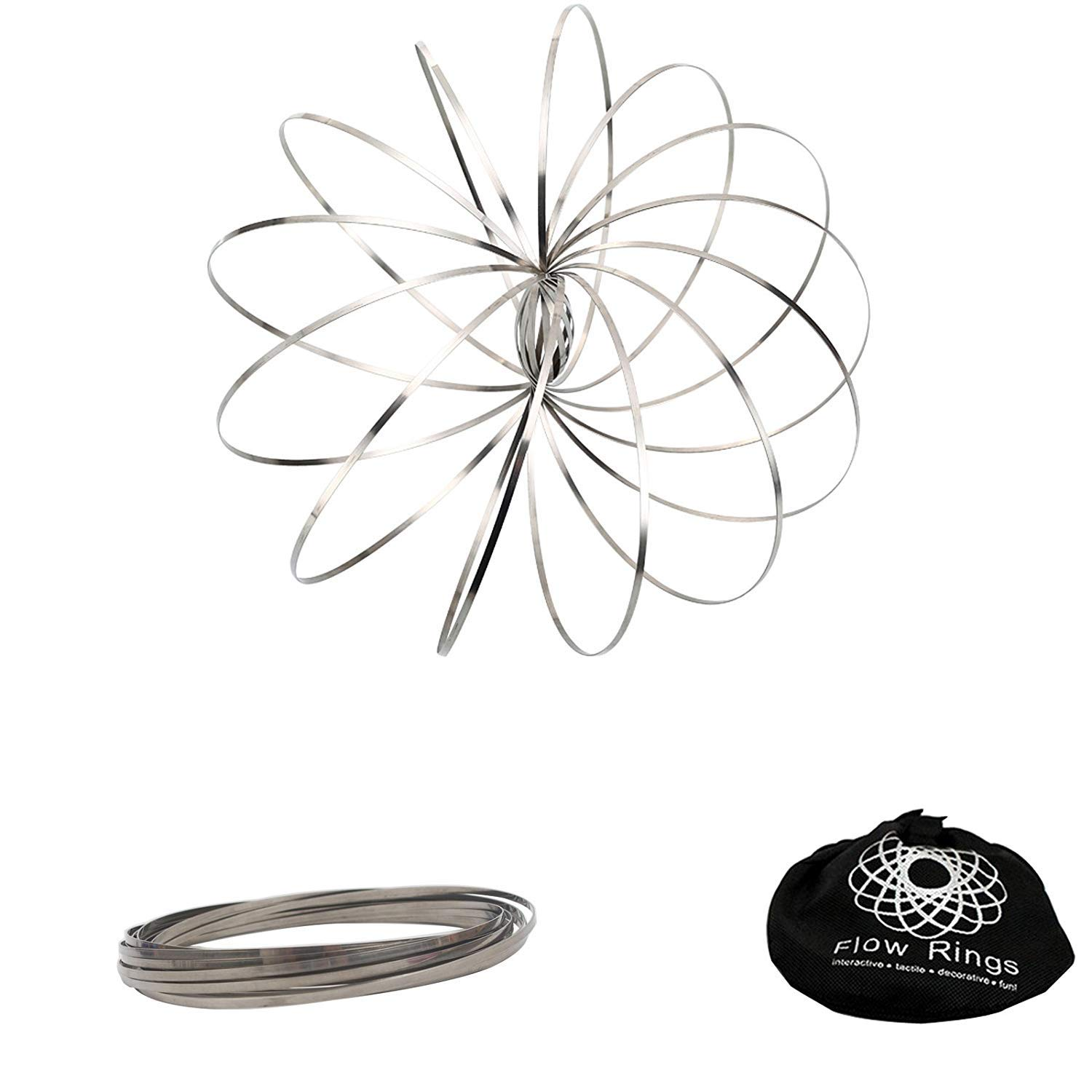 bennu Flow Ring Kinetic Spring Toy 3D Sculpture Ring Silver,Colorful