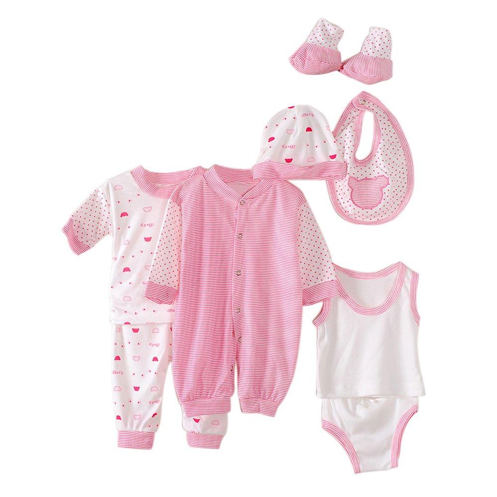 Per 8pcs Set Baby Suit Cute Pajamas Set for Newborn Babys - Stripe and Plaid (Pink)