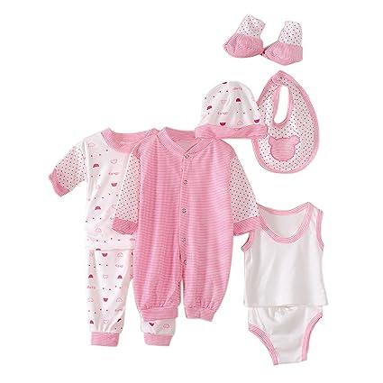 Per 8 piezas Conjuntos de ropa para bebé Canastilla de algodón Traje de bebé Regalo para Recién Nacido