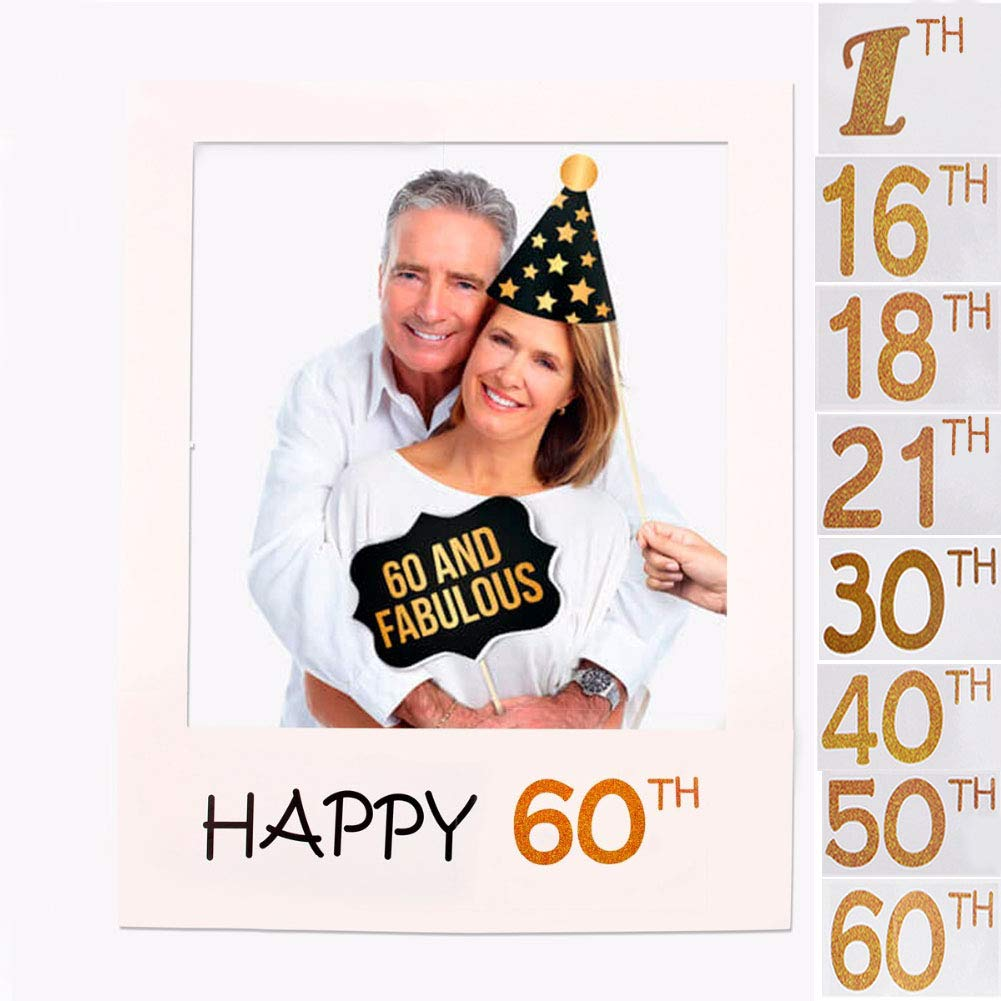 6070cm,16 Years Old 1st//16//18//21//30//40//50//60th Photo Frame Booth Props Happy Birthday Paper Party