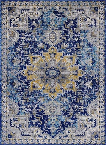 Luxe Weavers Manhattan Collection Oriental 8×10 Blue Area Rug 2527