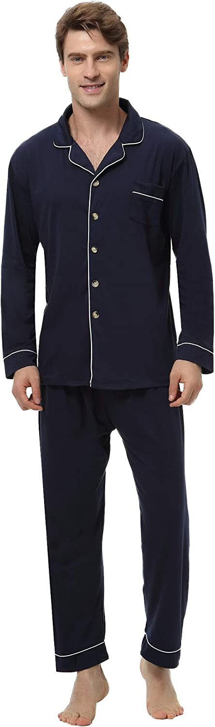 Aibrou Mens Pajamas Set Cotton Long Sleeve Button-Down Sleepwear Loungewear