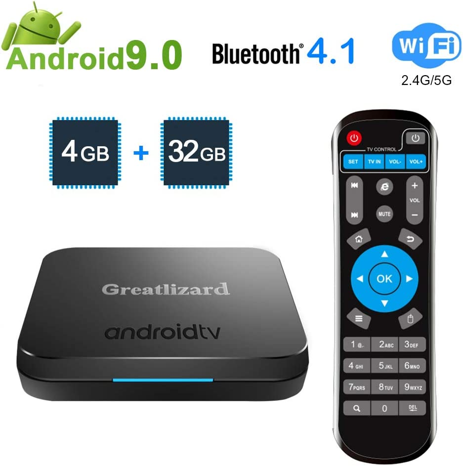 Greatlizard KM9 TV Box Android 9.0 4GB DDR4 32GB BT4.1 Dual WiFi 2.4G + 5G Smart Core 4K Smart TV Media Box: Amazon.es: Electrónica