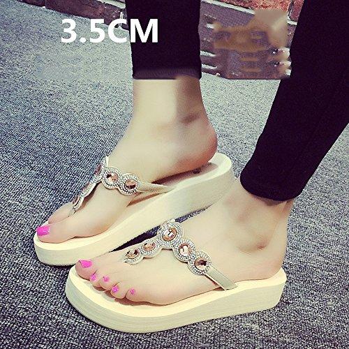 Sandalias pies MEIDUO Zapatos moda la estudiante mujeres grueso de de Zapatillas deslizantes Chanclas verano de playa femenino 3 fondo de 5cm A cómodo los Zapatillas sandalias de las del del ZBHndxq