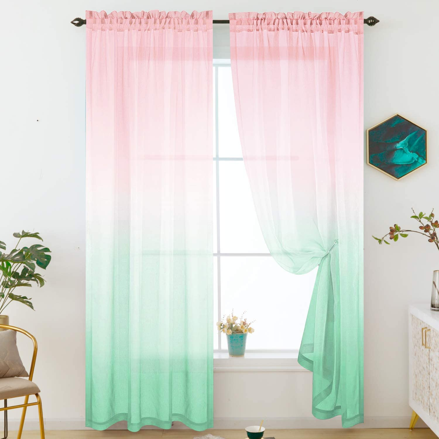 Girls Room Sheer Curtains for Girls Bedroom Decor Pink and Green