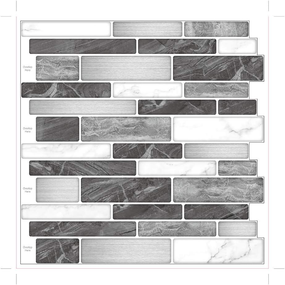 - 10-Sheet Premium Self-Adhesive Kitchen Backsplash Tiles In Marble
