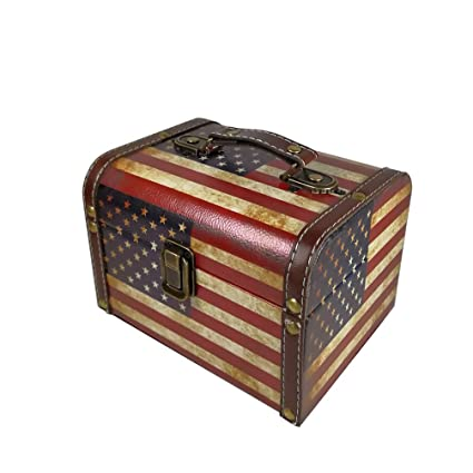 Beau DreamsEden Vintage Wooden Storage Box With Handle   American Flag Pattern  Design Treasure Chest For Home