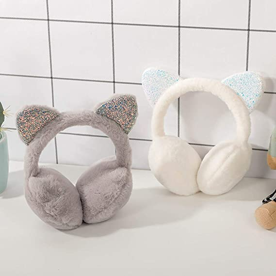 ZZYXiao Soft Fluffy Ear Cap Chica Invierno Gato Orejeras Piel Caliente O/ído Proteger Blanco