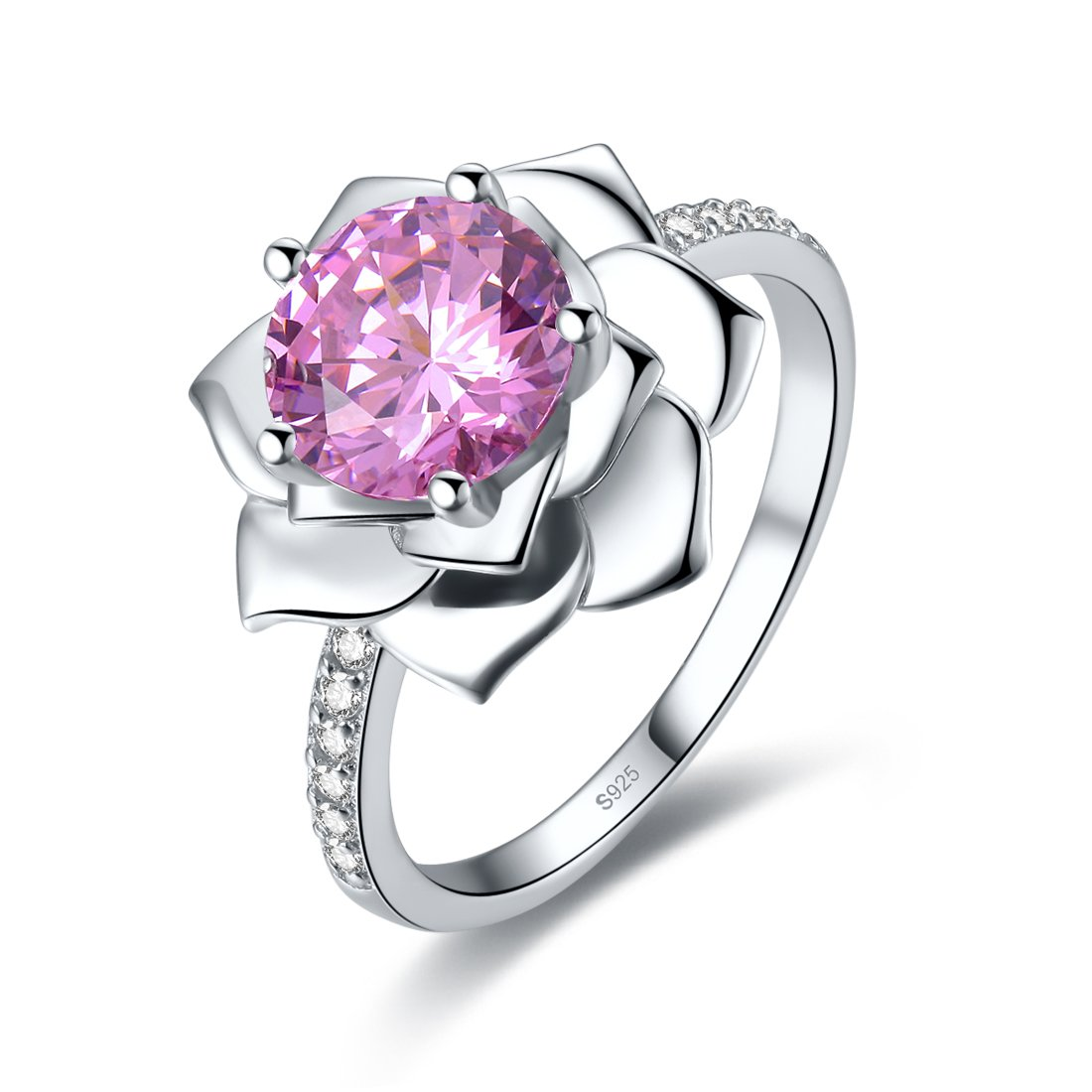Merthus Womens 925 Sterling Silver Created Pink Topaz Water Lily Promise Engagement Ring