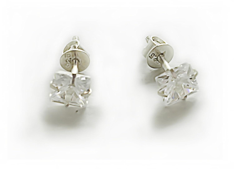 97642b13c silverwala 925-92.5 sterling silver princess cut real cubic zirconia stud  earrings for men,
