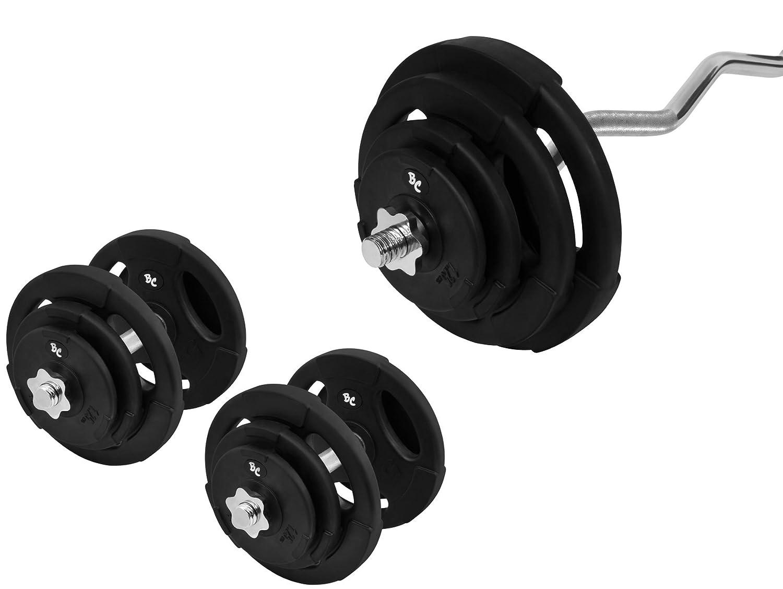 Goma - Conjunto de discos para pesas 67 kg (1 x SZ - Barra para pesas (120 cm, 2 barras cortas de 35 cm, 4 x 1,25, 4 x 2,5, ...