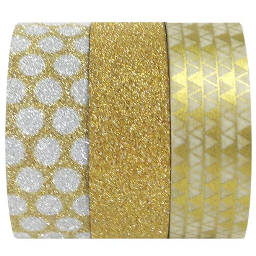(Wrapables Gold Treasure Washi Masking Tape, 5M by 15mm, Set of)