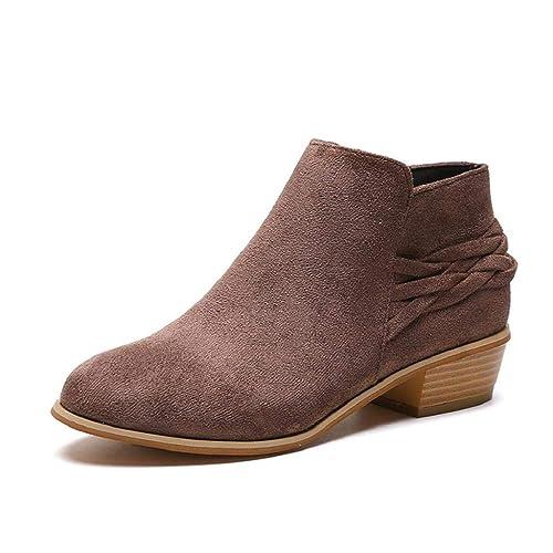 QUICKLYLY Botas de Mujer,Botines para Adulto,Zapatos Otoño/Invierno 2018,Señoras De La Moda Tobillo Sólido Punto Flock Martim Cortas Bootie: Amazon.es: ...