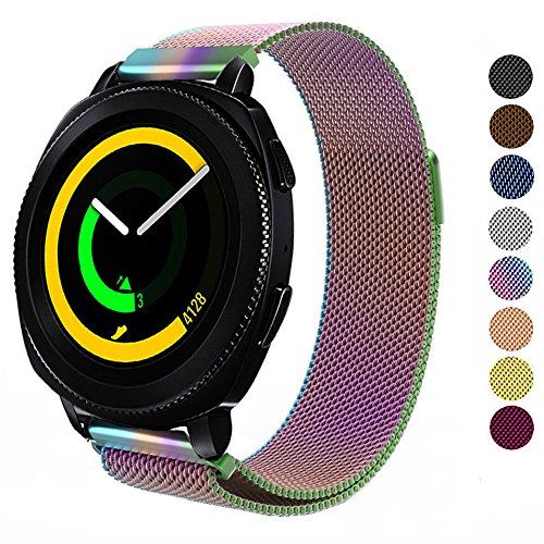 DELELE for Samsung Gear Sport / S2 Classic/Galaxy Watch 42m Band, 20mm Stainless Steel Milanese Loop Metal Replacement Strap with Magnet Lock for Gear Sport/Galaxy Watch 42mm Women Men (Rainbow)