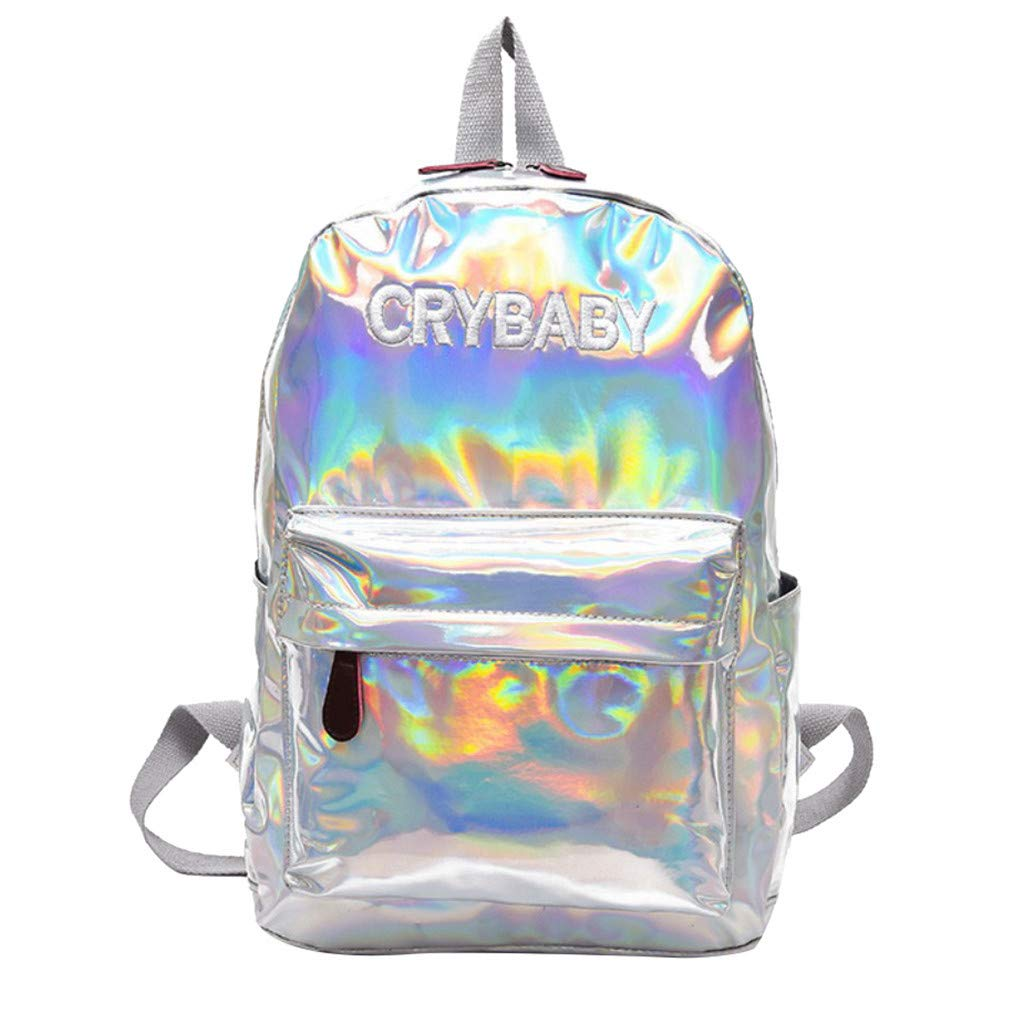 Backpack for Girl Holographic School Bookbag Large Capacity Shoulder Bag Casual Daypack Fashion Travel Satchel By Lmtime(Silver)