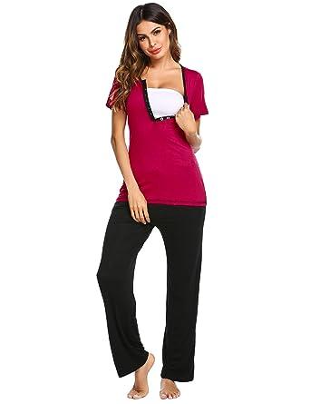 2c24c6d8928ee Ekouaer Maternity & Nursing Pajama Set,Patchwork Short Sleeve Breastfeeding  Sleepwear Grey S