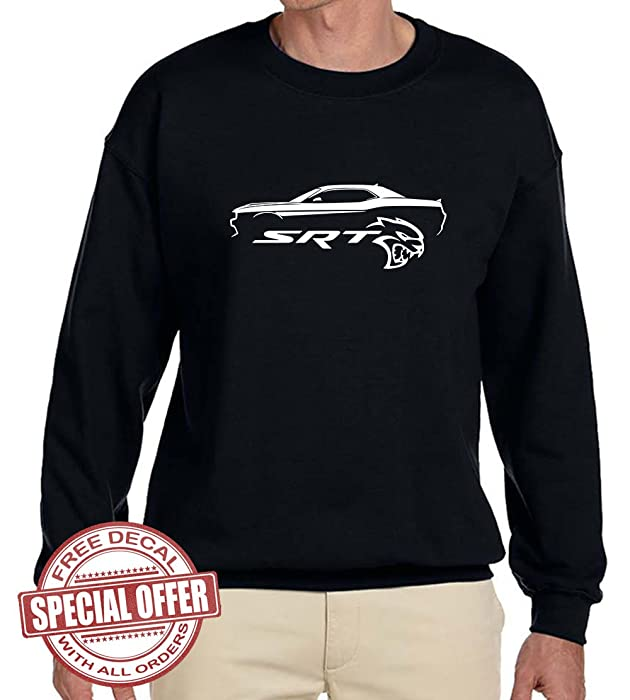 Dodge Challenger Srt Hellcat Muscle Car Outline Design Sweatshirt