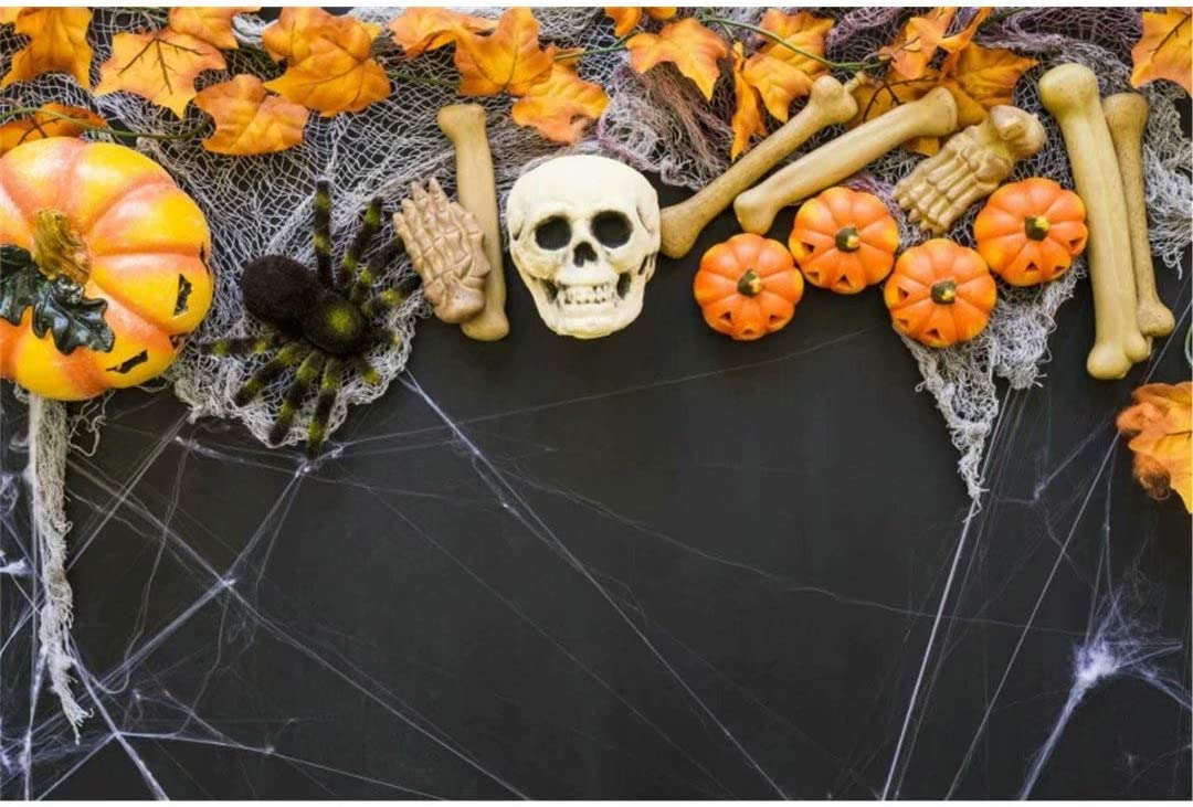 Halloween Scary Pumpkin Scary Skull Head Spider Web Photography Background Studio Props Scary Night Pumpkin Lantern Fairy Tale Background