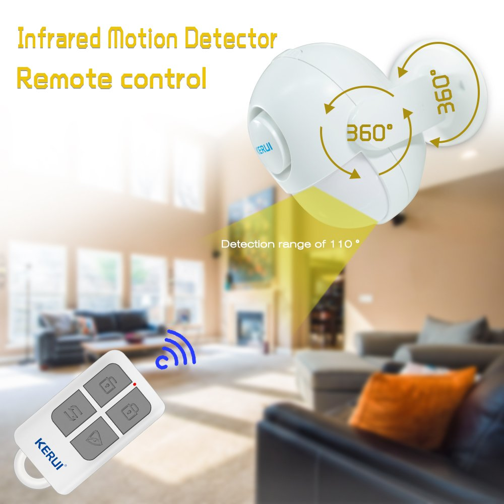 Home Security Alarm,Wireless Infrared Motion Sensor With Remote Control key. All-in One Burglar Alarm System,Visitor Guest Entry Doorbell Chime with Remote LED Indicators Easy to Install Great for Bu by KERUI (Image #3)