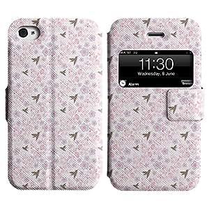 Be-Star Diseño Impreso Colorido Slim Casa Carcasa Funda Case PU Cuero - Stand Function para Apple iPhone 4 / 4S ( Birds And Flowers )