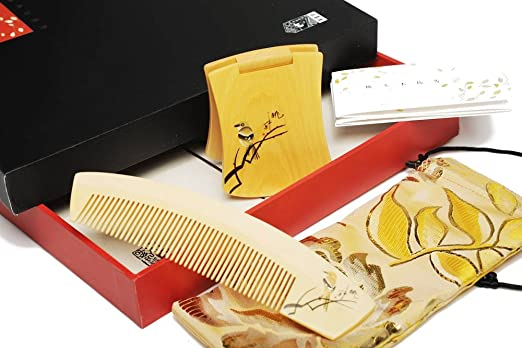 Tan's Wood Comb & Mirror Gift Set Hand Painted Looking