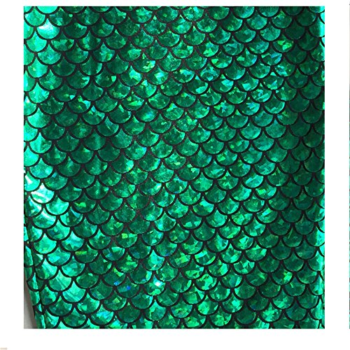 Mermaid Hologram Fish Scale Stretch Spandex Fuchsia, 58