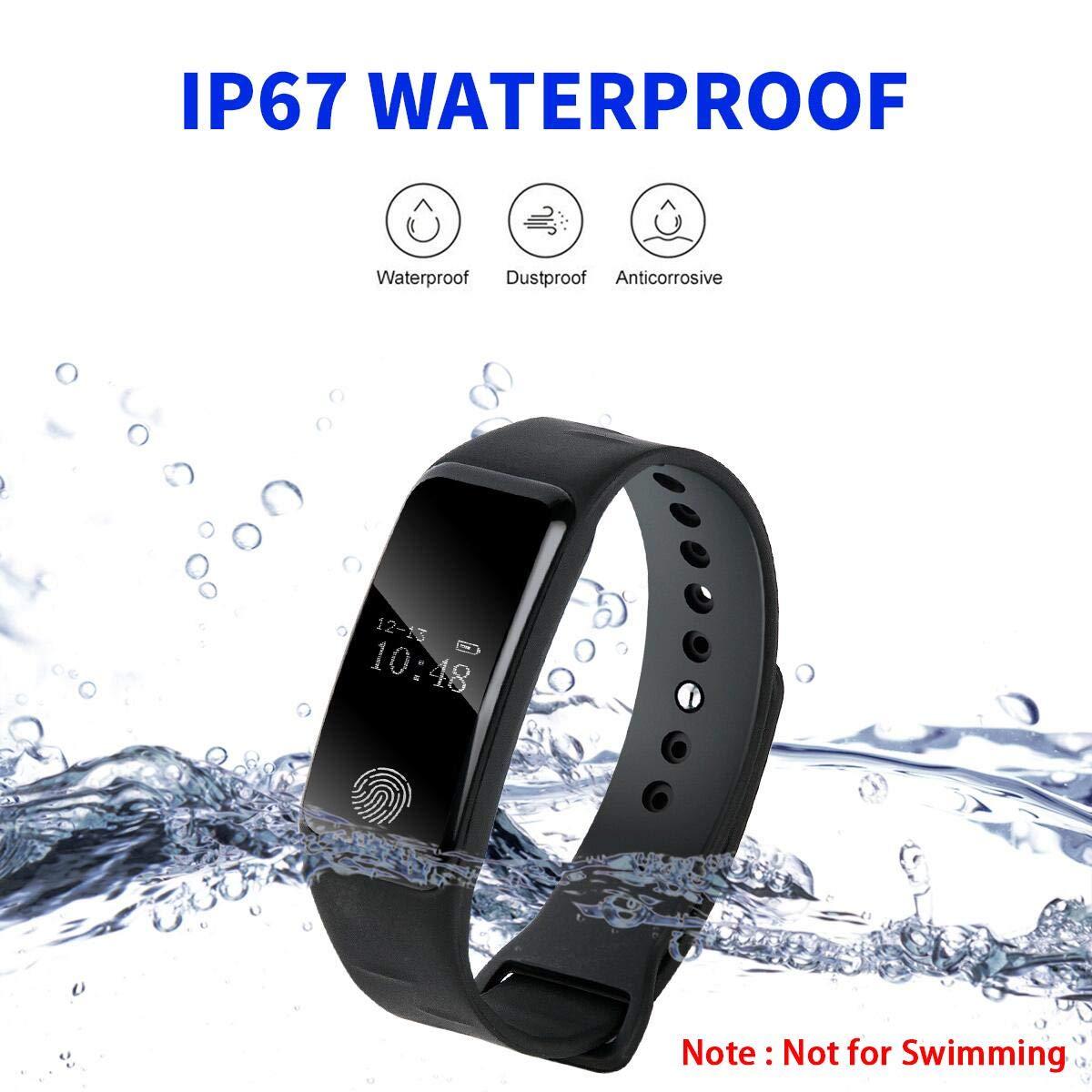 DAMIGRAM Montre Connecté Tracker dActivité, Bracelet Connectée Traqueur dActivité Podomètre Cardiofréquencemètre Etanche IP67 Smartwatch, Compatible IOS ...
