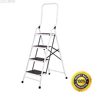 COLIBROX--2 In 1 Non-slip 4 Step Ladder Folding Stool w