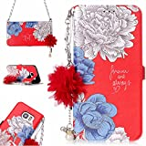 S7 Case, Galaxy S7 Case,DAMONDY 3D Flowers Stand Wallet Purse Card Slot ID Holders Design Flip Cover Chain Strap Pocket Purse Leather Magnetic Protective for Samsung Galaxy S7-red hua