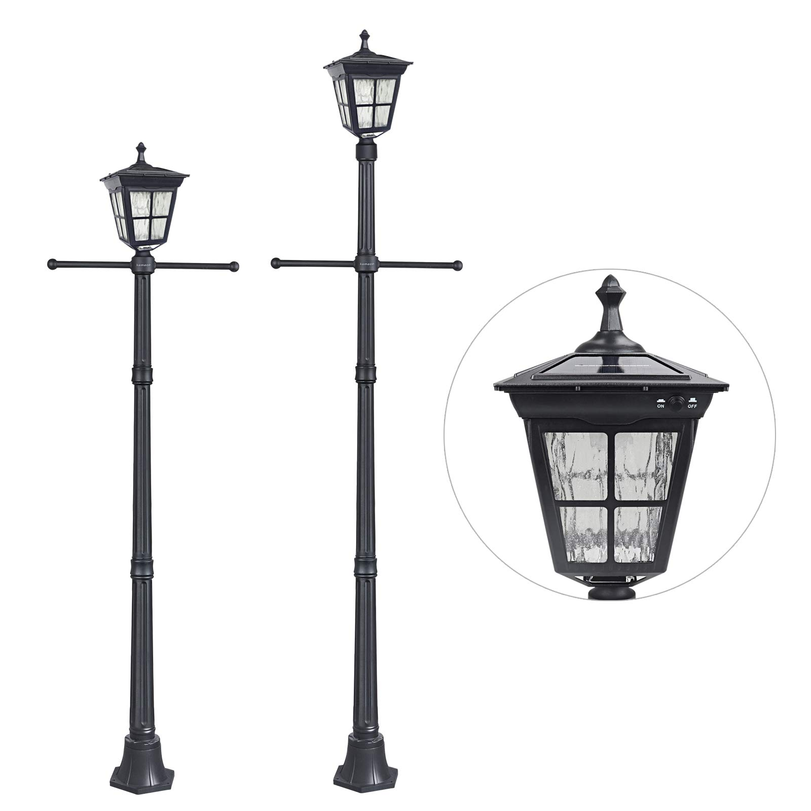 Kemeco ST4311BAH 6 LED Cast Aluminum Solar Lamp Post Light with Arm for Outdoor Landscape Pathway Street Patio Garden Yard