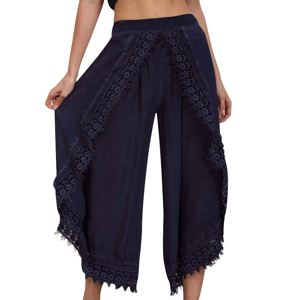 LUKALUKADA Women's Lace-Trim Pants Casual Thin Lightweight Solid Color High Waist Loose Pants Navy by LUKALUKADA