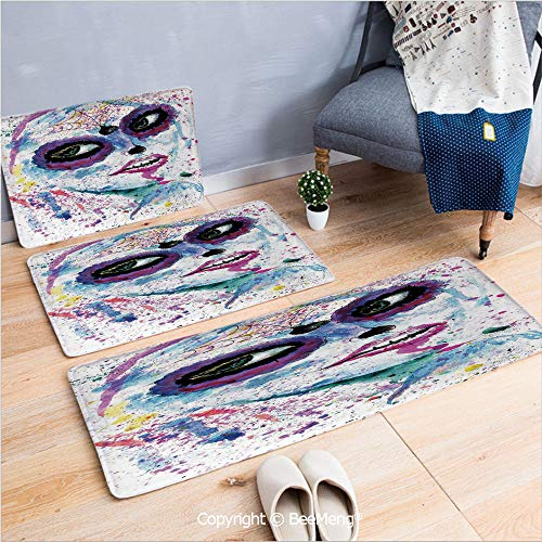 3 Piece Anti-Skid mat for Bathroom Rug Dining Room Home Bedroom,Cute Girls,Grunge Halloween Lady with Sugar Skull Make Up Creepy Dead Face Gothic Woman Artsy,Blue Purple,16x24/18x53/20x59 inch -