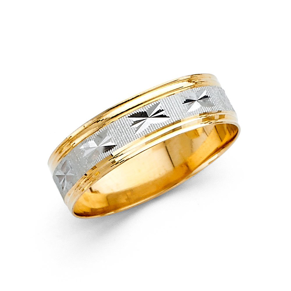 Ioka Jewelry - 14K Two Tone Solid Gold 6mm Diamond Cut Men's Wedding Band - size 11