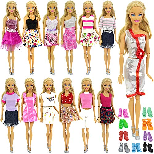Short Element Clothing - ZITA ELEMENT 10 Items = 5 Fashion Clothes Dress Outfits + 5 Shoes for 11.5 Inch Girl Doll Accessories - Random Style