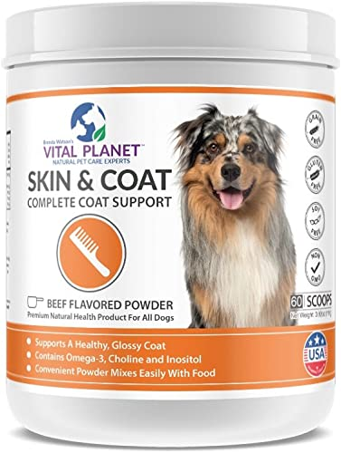 Vital Planet Skin and Coat Powder – Omega 3 Fatty Acid Supplement for Dogs – Ultimate Support for a Healthy Glossy Coat – 60 Scoops