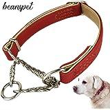 beanspet 犬 ハーフチョーク 2層革 首輪 犬首輪 革 おしゃれ かわいい 大型犬 犬の首輪 いぬ くびわ レザー 犬用品 (M, レッド)