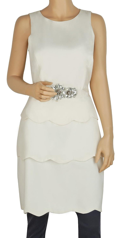 BADGLEY MISCHKA Ivory Sleeveless Tiered Belted Layered Dress