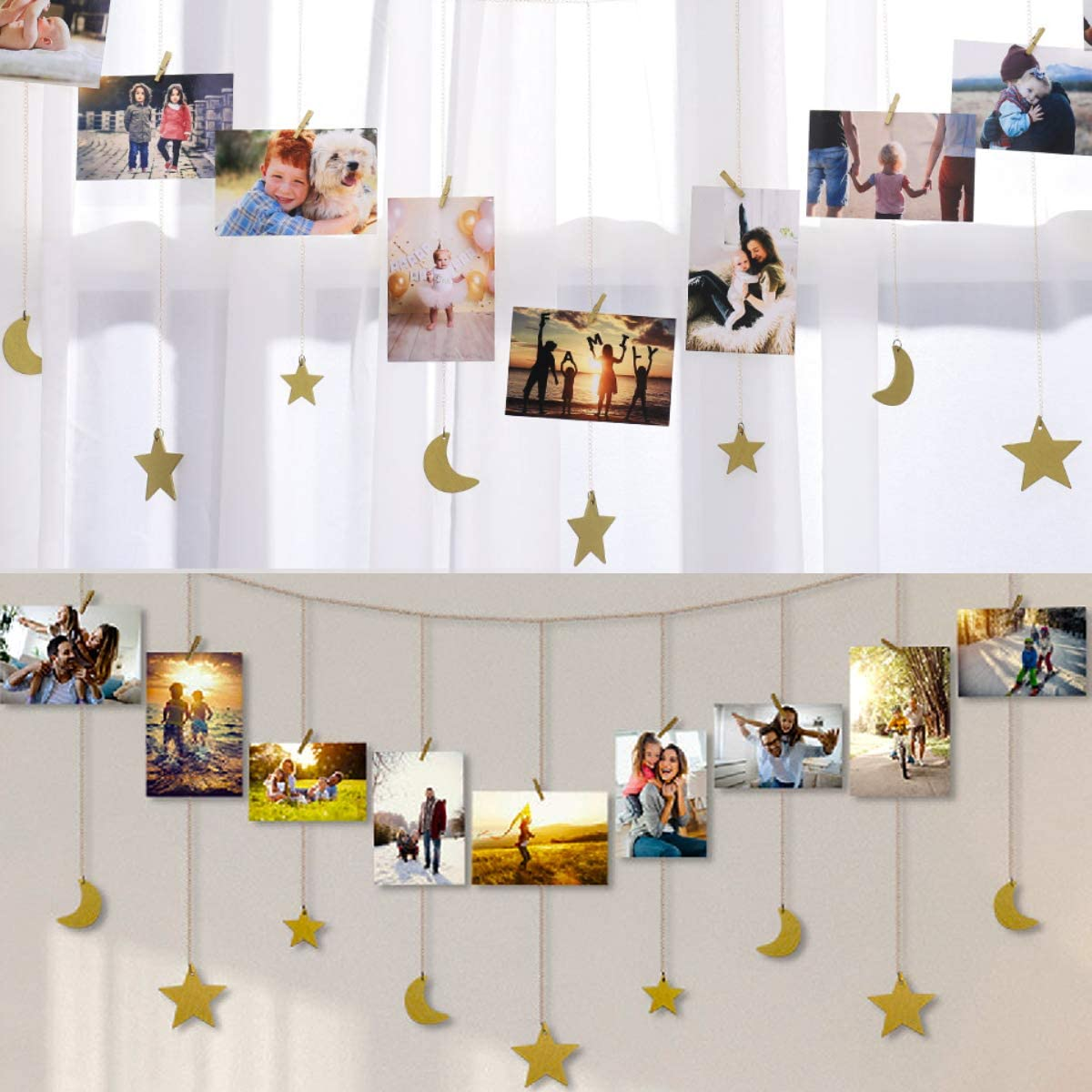 IMIKEYA Hanging Photo Display Wood Star Moon Garland with Chains Picture Frame Collage with 30 Wood Clips Photo Wall Display for Home Office Nursery Room Dorm Living Room Wall Art Decoration,Gold