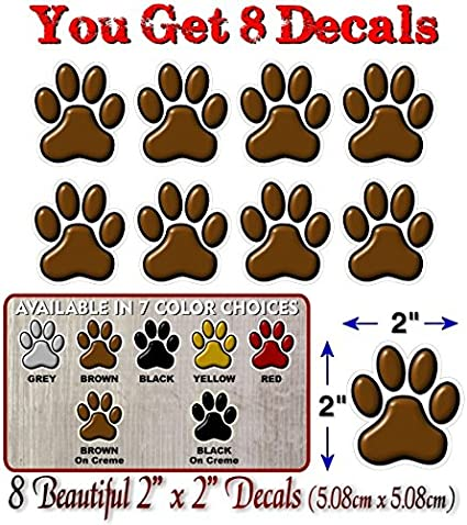 8 PAW Prints 2 Dog Cat Decal Cat Puppy Foot Print Vinyl Stickers for Car Vehicle Window Or Bumper Black w//White Outline