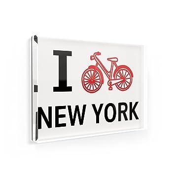 Amazoncom Fridge Magnet I Love Cycling State New York Neonblond