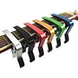 Haibei ワンタッチ ギター カポ タスト カポタスト フォーク エレキ クラシック アコースティック(ゴールド)